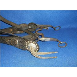 Old Dotted Headstall- Nickel Conchos- Unmarked McChesney Silver Overlaid Bit- Curb Mouth