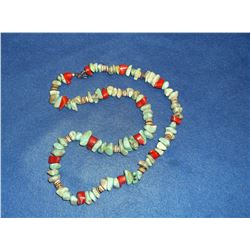 Turquoise and Coral Necklace- 14""
