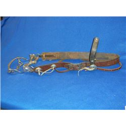 Old Dotted Headstall With Nickel Conchos- Unmarked Nickel Plated Bit- S Shank- Halfbreed Mouth