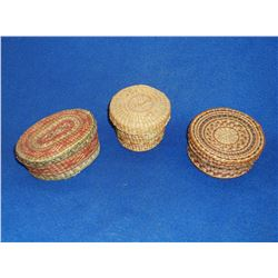 "3 Native American NW Polychrome Lidded Baskets- 4.5""L X 3""W X 2""H- 2.5""H X 3.5""W- 2""H X 4""W"