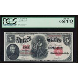 1907 $5 Large Legal Tender Note PCGS 66PPQ