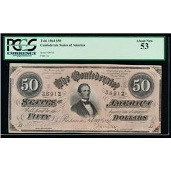 1864 $50 Confederate States of America Note PCGS 53