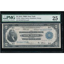 1918 $2 New York Federal Reserve Bank Note PMG 25