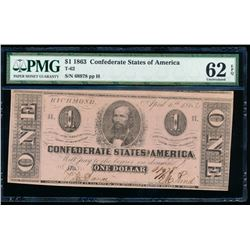 1863 $1 Confederate States of America Note PMG 62EPQ