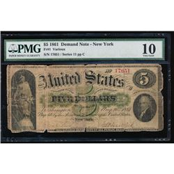 1861 $5 New York Demand Note PMG 10