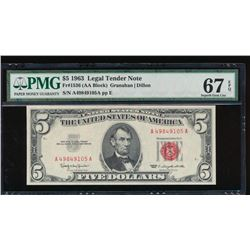 1963 $5 Legal Tender Note PMG 67EPQ