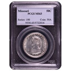 1921 Missouri Commemorative Half Dollar Coin PCGS MS63