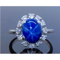 14KT White Gold Blue Star Sapphire and Diamond Ring