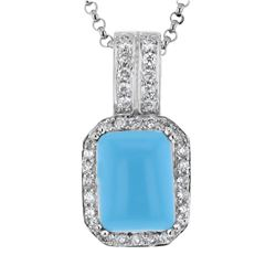 14KT White Gold 3.88ct Turquoise and Diamond Pendant with Chain