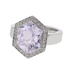 14KT White Gold 5.29ct Amethyst and Diamond Ring