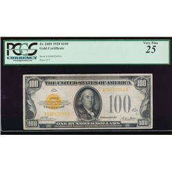 1928 $100 Gold Certificate PCGS 25