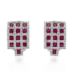 14KT White Gold 2.39ctw Ruby and Diamond Earrings