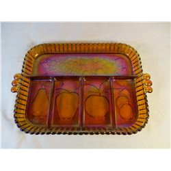 Orange Carival Glass Relish Tray