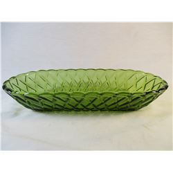 Vintage Indiana Glass Avocado Green Celery Dish