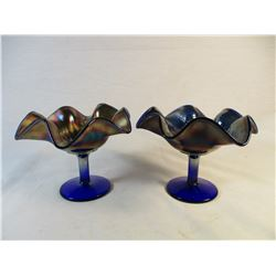 Set of 2 Ruffle Edge Holly Leaf Carnival Glass Stemmed Dishes Bowls