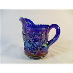 Carnival Glass Rose Pattern Pitcher