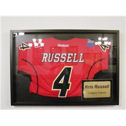 KRIS RUSSEL CALGARY FLAMES SIGNED JERSEY FRAMED