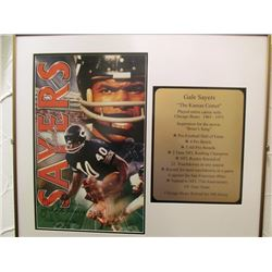 GALE SAYERS CHICAGO BEARS NFL SIGNED FRAMED PICTURE MERRY XMAS