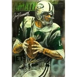 LIMITED EDITION STEPHEN HOLLAND PAINTING - SIGNED JOE NAMATH