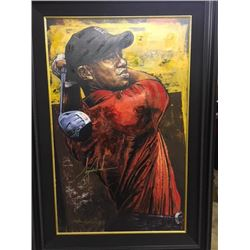 LIMITED EDITION STEPHEN HOLLAND PAINTING - SIGNED TIGER WOODS