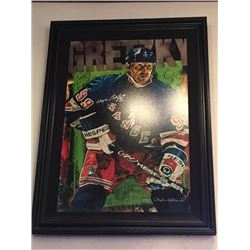 LIMITED EDITION STEPHEN HOLLAND PAINTING - SIGNED WAYNE GRETZKY RANGERS