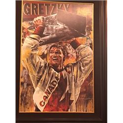 LIMITED EDITION STEPHEN HOLLAND PAINTING - SIGNED WAYNE GRETZKY TEAM CANADA