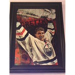 LIMITED EDITION STEPHEN HOLLAND PAINTING - SIGNED WAYNE GRETZKY OILERS