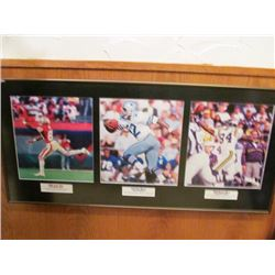 TWO FRAMED NFL PICTURES - NFL GREAT WIDE RECEIVERS/NFL GREAT QUARTERBACKS
