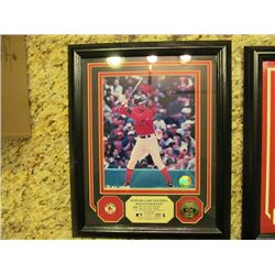 2 FRAMED PRINTS - NOMAR GARCIAPARRA RED SOX AND GOLD MEDALLION/ALBERT PUJOLS CARDINALS GOLD MEDALLIO