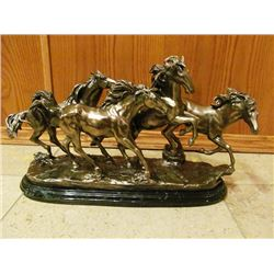 TWO SCULPTURES - WILD HORSES, BEAR