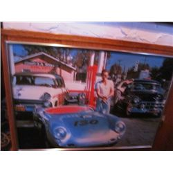 JAMES DEAN FRAMED PRINT - PORSCHE SPYDER