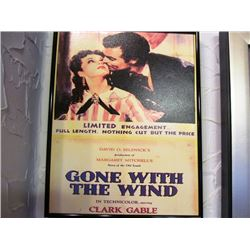 3 FRAMED VINTAGE MOVIE POSTERS - GONE WITH THE WIND, ELVIS PRESLEY - GI BLUES, GARY COOPER - THE PRI