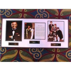 3 FRAMED PRINTS - FRANK SINATRA/MICHAEL JACKSON/THE BEATLES, THE GODFATHER, JOHN WAYNE/LUCILLE BALL/