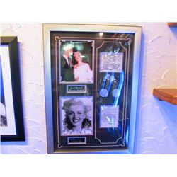 FRAMED PHOTO - MARILYN MONROE MARRIAGE CERTIFICATE AND FIRST CONTRACT