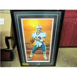DAN MARINO PAINTING BY DANNY DAY.  INDIVIDUALLY HAND SIGNED BY BOTH ATHLETE AND ARTIST..  249/270