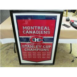 CHAMPIONSHIP LARGE FRAMED BANNER - MONTREAL CANADIENS