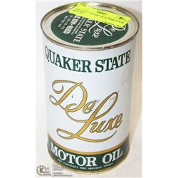 COLLECTIBLE VINTAGE 1 QUART QUAKER STATE DELUXE MOTOR OIL UNOPENED FULL CAN
