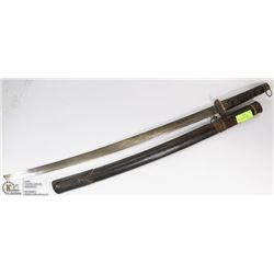 VINTAGE SAMURAI STYLE SWORD WITH LEATHER WRAP HANDLE AND ETCHED BLADE