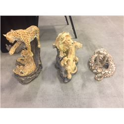 ANIMAL SCULPTURES INCLUDING RATTLE SNAKE TAXIDERMY