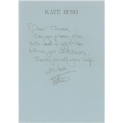 Kate Bush Handwritten Note to Prince's Assistant