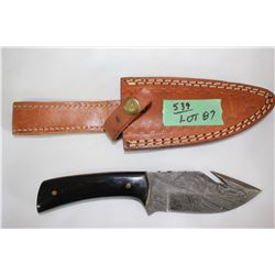 "4"" Damascus Blade Hunting Knife w/Gut Hook - Black Handle"