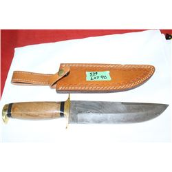 "8"" Damascas Blade w/Brown Wood Handle & Brass Guards"