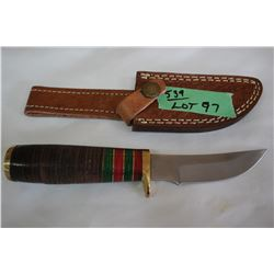 "4"" Knife w/Stainless Blade; Cork Handle & Brass Guard"