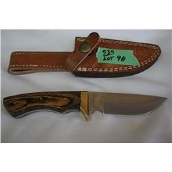 "4"" Knife w/Stainless Blade; Wood Handle & Brass Guard"