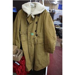 Military Long Canvas Sheep Lined Coat - Large - Super Warm