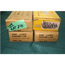 3 Boxes Parabellum 9mm - 115 gr. & Part Box of 9mm