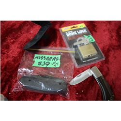 Mossberg Recoil Pad; Padlock & Pocket Knife