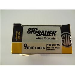 100 ROUNDS SIG SAUER 9MM LUGER 115 GRAIN FMJ