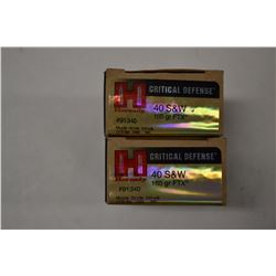 40 ROUNDS HORNADY CRITICAL DEFENCE 40 S& W 165 GRAIN FXT