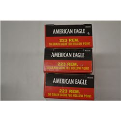 60 ROUNDS AMERICAN EAGLE 223 REM 50 GRAIN JHP